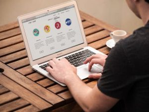 Man designing website